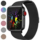 DaQin Bands Compatible with Apple Watch 42mm Men and Women, Milanese Metal Magnetic Mesh Loop Wristbands for Apple iWatch Series 3 2 1 Black