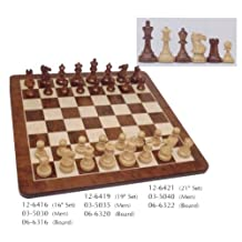 WE Games Luxury English Style Chess Set - Weighted Pieces & Walnut Root Wood Board 21 in.