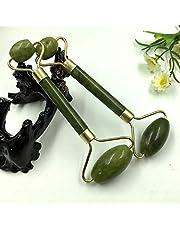 Jade Roller Massager Natural Serpentine Jade Massage Wand Face Massager Roller Beauty Bar Healing Stone - Gold