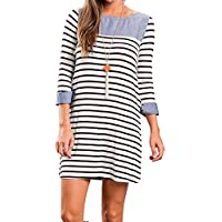 YUMDO Striped T-Shirt Dress Long Sleeve Casual Loose Colorblock For Women