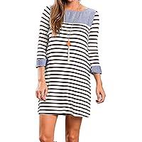 YUMDO Striped T-Shirt Dress Long Sleeve Casual Loose Colorblock For Women
