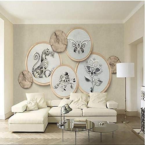 Ljjlm カスタム大フレスコ3D固体新しい中国刺繍木目調ソファ背景壁不織布壁紙-280X200Cm
