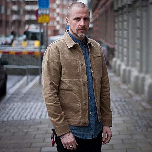 TIYKI Jacke Herren Canvas Baumwolljacke Fr/ühlingsarbeitsjacke Khaki