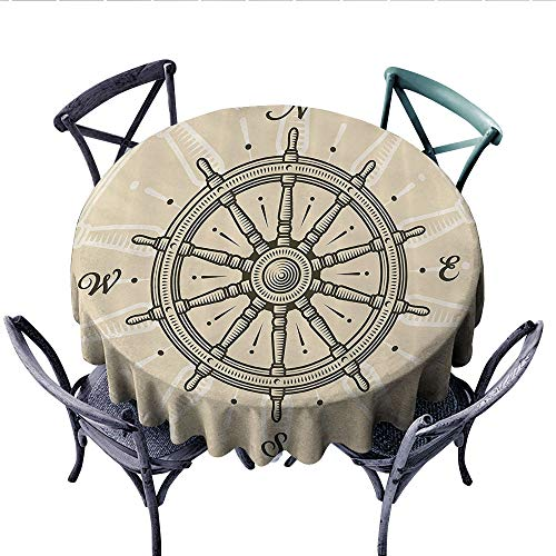 Ships Wheel Decor Dinner Picnic Table Cloth Vintage Ship Wheel Antique Sailboat Navigation Tool Monochromic Nostalgic Deco Round Wrinkle Resistant Tablecloth (Round, 36 Inch, Olive Green and -