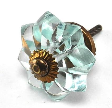 Arctic Blue Glass Melon Cabinet Knobs, Drawer Pulls, Handles, Hardware 2pc  ~ K117