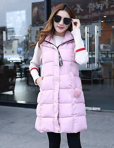 largo amp; poliéster romántico algodón ShangYi mangas TT de acolchado algodón para sin mujer Oficina Casual Abrigo Unita pink blushing USCIRE Simple Tinta pEqwxd