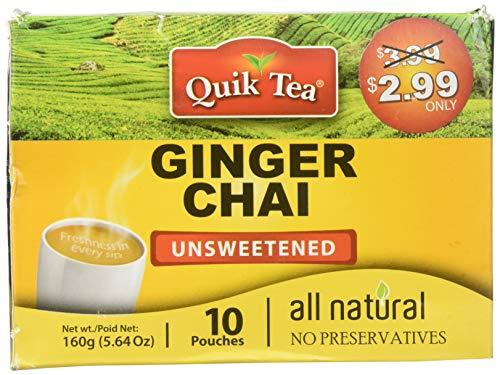 Chai Tea Latte - Ginger Chai Tea 10 Latte Tea Pouches (Unsweetened) By QuikTea