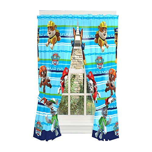 "Nickelodeon Paw Patrol Window Curtain Panels with Tie Backs, Blue, 82"" x 63"", Blue"