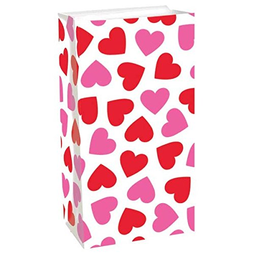 Valentine Party Loot Bags - Key To Your Heart Valentine's Day Party Key to Your Heart Treat Bags , Red/Pink/White, Paper , 10