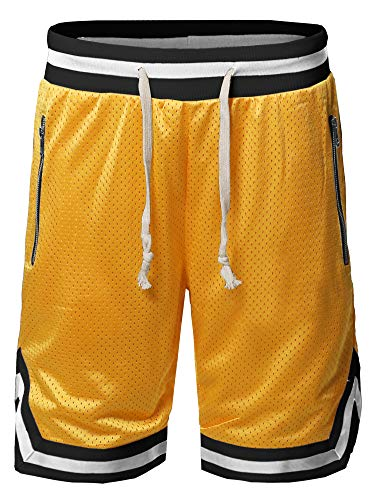 Style by William Casual Active Sports Side Pokets Zipper Double Meshed Shorts Yellow Black 1XL