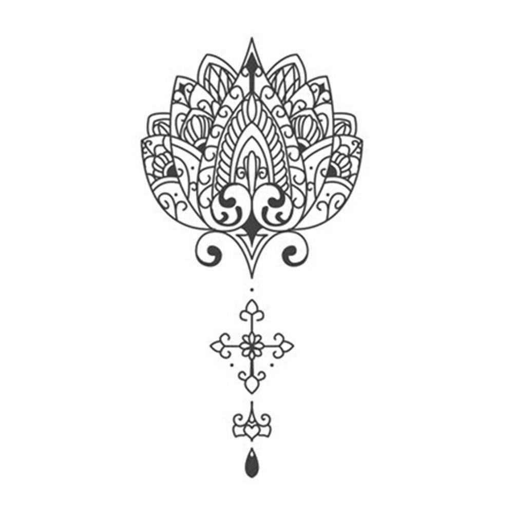 Set of 2 Cool Lotus Totem Body Tattoo Stickers Watertight Fake Tattoo(5.42.7'')