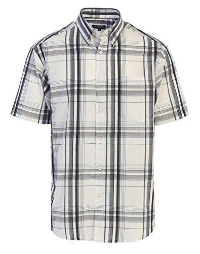 Gioberti Men's Plaid Short Sleeve Shirt, White/Gray, Small