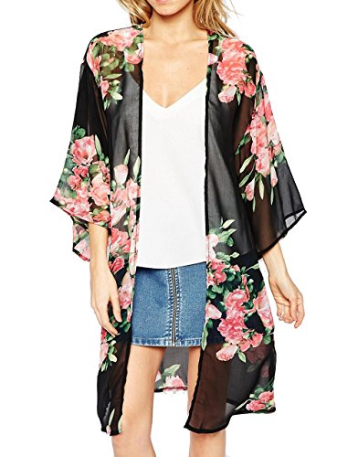 Chiffon Floral (Relipop Women's Chiffon Blouse Loose Tops Beach Kimono Floral Print Cardigan (Medium, Black))