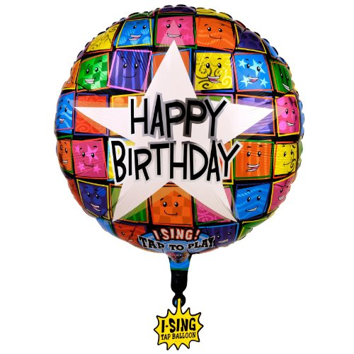 Happy Birthday Faces Singing Foil Balloon 28in., -