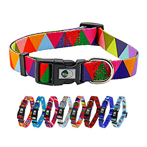 """Dog Collar with Geometric Camouflage Plaid Patterns Colorful Soft Puppy Collar Adjustable for Small Medium Large Dogs(Medium (Neck 11.81""""-18.5""""), Triangle)"""