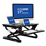 "FlexiSpot 27"" Wide Platform Height Adjustable Standing Desk Riser, Removable Keyboard Tray, Black (M1B-S-SIZE)"