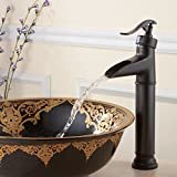 FLFU Single Handle Vessel Bathroom Sink Faucet Waterfall Faucets in Rustic Bronze