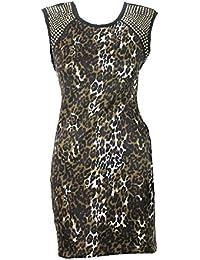 Black Leopard Print Studded Dress