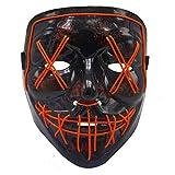 BV Halloween Mask LED Light Up Mask for Festival Cosplay Halloween Costume Red