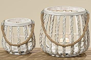 Unbekannt 2 Bambus Laternen Weiss Windlicht 2er Set Sort H21 H29cm