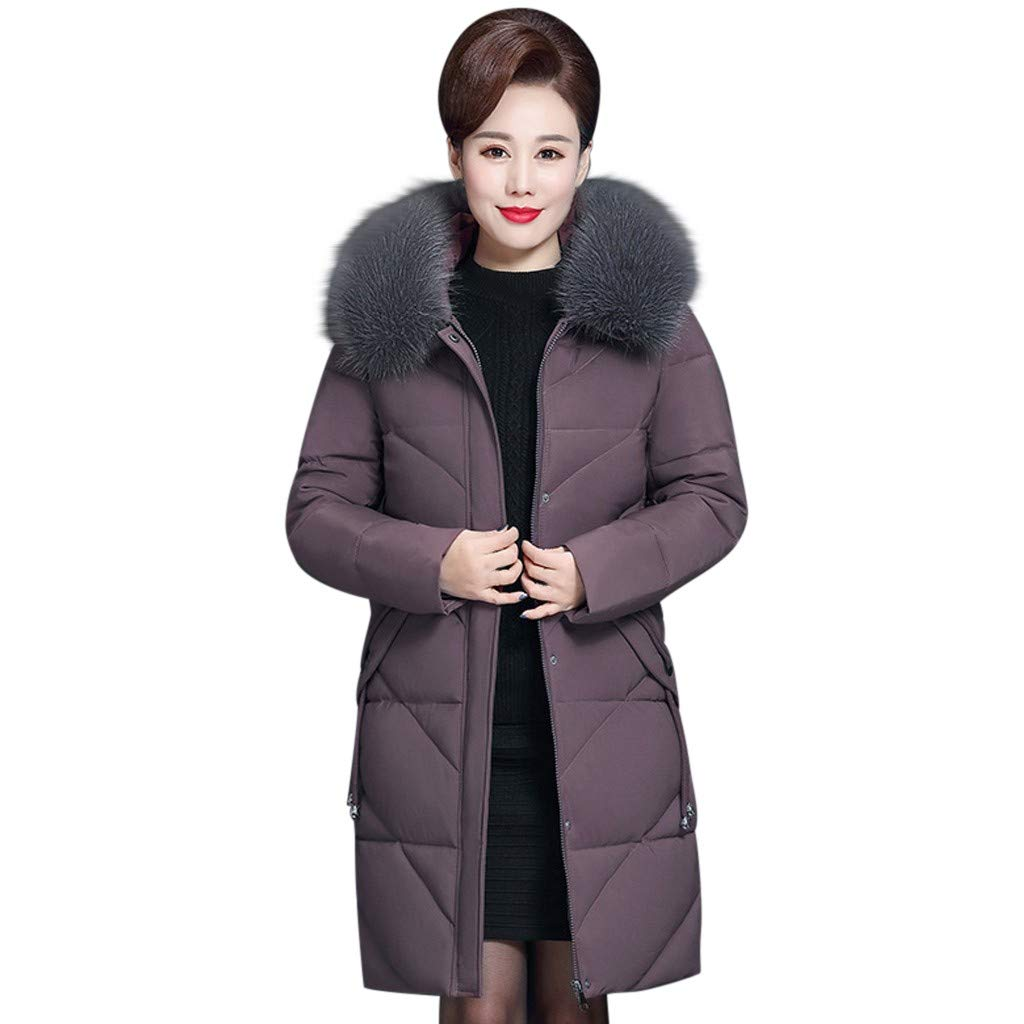 Wenini Women Lady Solid Winter Warm Coat Middle-Aged Fur Hooded Long Thick Jacket Coat Outwear XL-7XL by Wenini Women Coat