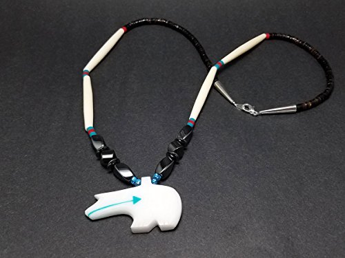 [Hand Carved White Fossil Stone Zuni Bear Fetish Necklace] (Fossil Hematite Necklace)