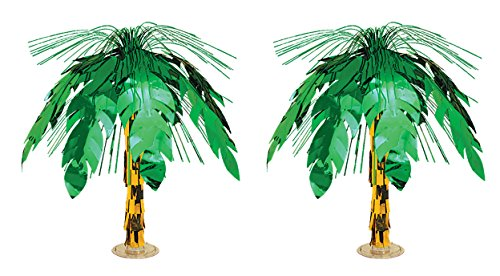 Palm Tree Decoration (Beistle S50556AZ2, 2 Piece Palm Tree Cascade Centerpieces,)