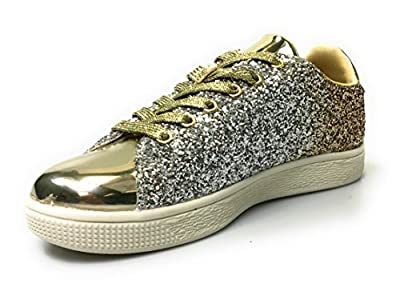 Forever Link Women's Glitter Fashion Sneakers (8, Gold Glitter-1)