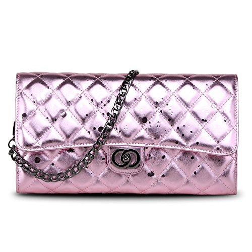 Ainifeel Women's Quilted Genuine Leather Clutch Wallet Purse (Meidum, Pink)