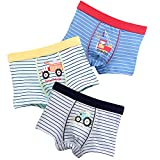 Boys Boxer Briefs 3-Pack Cotton Striped Truck Toddler Underwear for Little Boy 3-4 Years