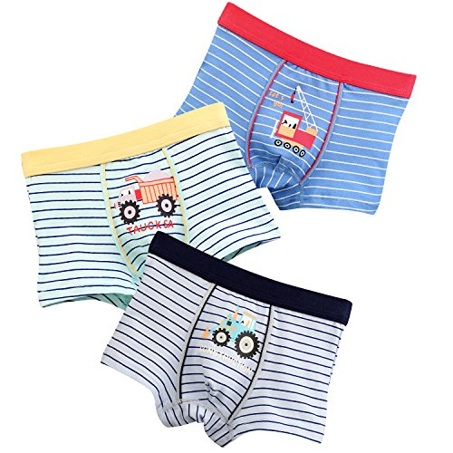 Boys Boxer Briefs 3-Pack Cotton Striped Truck Toddler Underwear For Little Boy 3-4 Years Car Boxer Shorts