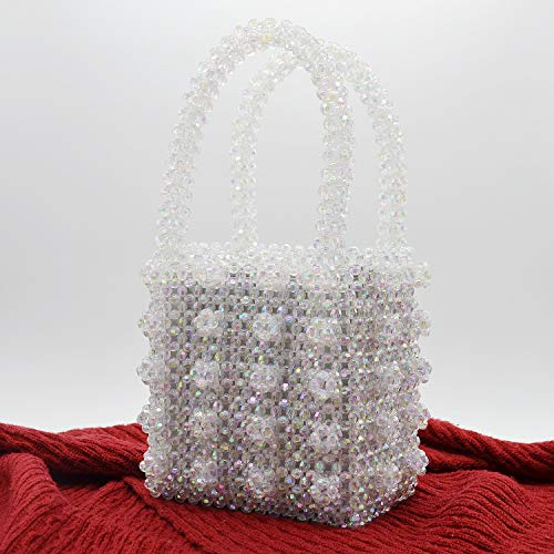 Miuco Womens Beaded Handbags Handmade Weave Crystal Pearl Tote Bags Transparent by Miuco (Image #2)