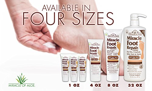 Miracle Foot Repair Cream 8 oz - 2 Pack with 60% Pure Organic Aloe Vera Softens Dry Cracked Feet by Miracle of Aloe (Image #3)