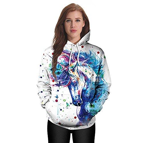 Dancing Unicorn Girls Women's 3D Lovers Hoodies Sportswear Perfect as Halloween Sweater Gift (L'islam Et Halloween)