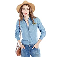 Chickle Women's Washed Cotton Down Collar Long Sleeve Denim Blouse Shirt