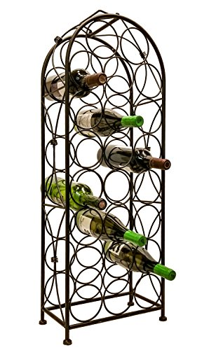 (Jmiles UH-BH259 Freestanding Wine Rack - Fully Assembled 23 Bottle Capacity (750 ml Standard Wine Bottle) Elegant Wine Storage and Display Rack for Home, Shop, or Restaurant)