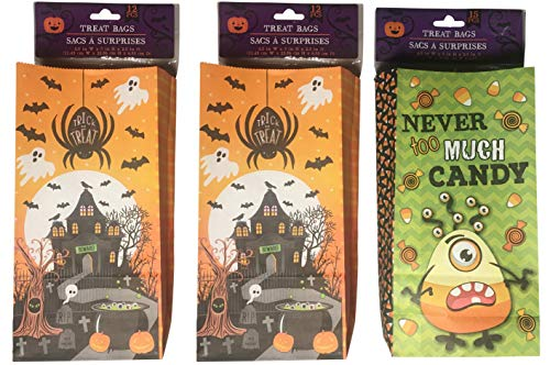 geenbrier Halloween Party Pack Bundle Paper Treat Bags 3 Designs (39 pcs) -