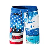NUWFOR Men's Casual Fashion Printing Beach Surfing Swimming Loose Sport Short Pants White