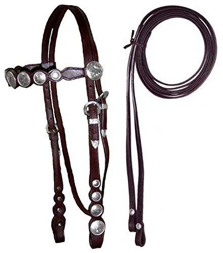 - Tahoe Tack Tahoe Silver Conchos Headstall with Reins Full Horse Silver Conchos Headstall with Reins, Dark Oil