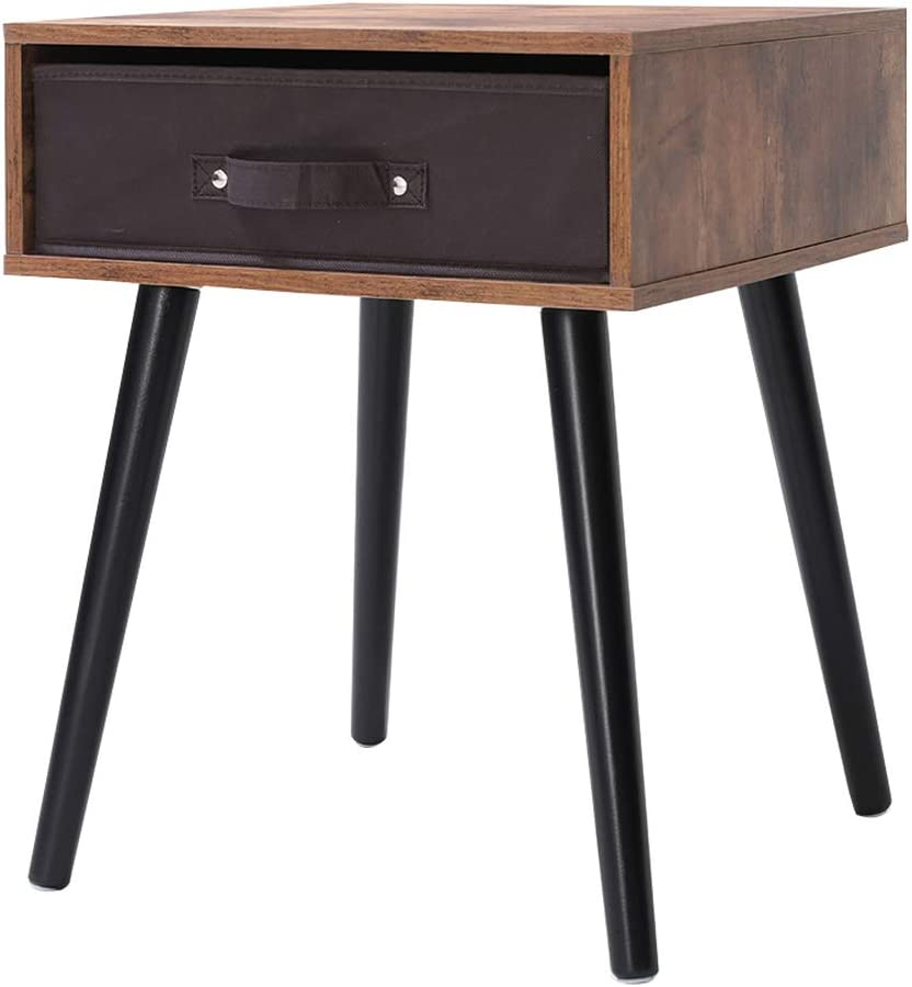 IWELL Mid-Century Nightstand, Wooden End Table with Drawer, Side Table for Small Spaces Bedroom, Solid Wood Legs Decent Furniture, Rustic Brown BZX005F
