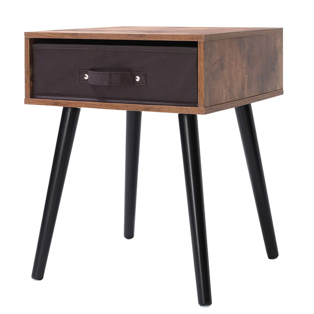 IWELL Mid-Century Nightstand, Wooden End Table with Drawer, Side Table for Small Spaces & Bedroom, Solid Wood Legs Decent Furniture, Rustic Brown BZX005F by Iwell