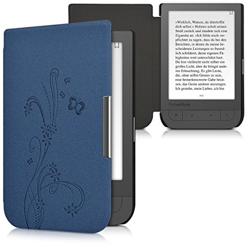 kwmobile Elegant synthetic leather case for the Pocketbook Touch HD/Touch HD 2 Butterfly Tendril in dark blue by kwmobile (Image #5)
