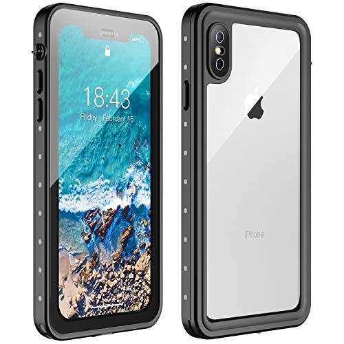 - Nineasy iPhone X Waterproof Case iPhone Xs Waterproof Case, 360° Full Body Protection Underwater Cover IP68 Certified Dustproof Snowproof Shockproof Waterproof Case for iPhone X/Xs(Black/Clear)