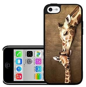 Mommy Giraffe Kissing Baby Giraffe Hard Snap on Phone Case (iPhone 5c)