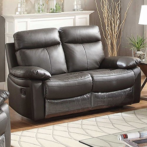 AC Pacific Ryker Collection Contemporary Upholstered Leather Reclining Loveseat with Dual Recliners, Dark Brown - Collection Brown Leather Loveseat
