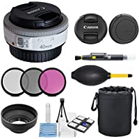 Canon EF 40mm f/2.8 STM Lens - Fixed (White) with 3pc Filter Kit (UV, CPL, FLD) + Deluxe Pouch + Hood + Cleaning Kit - International Version