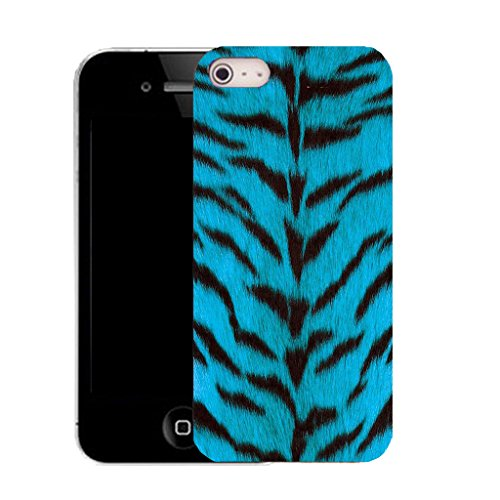 Mobile Case Mate IPhone 4s clip on Silicone Coque couverture case cover Pare-chocs + STYLET - wild blue fur pattern (SILICON)