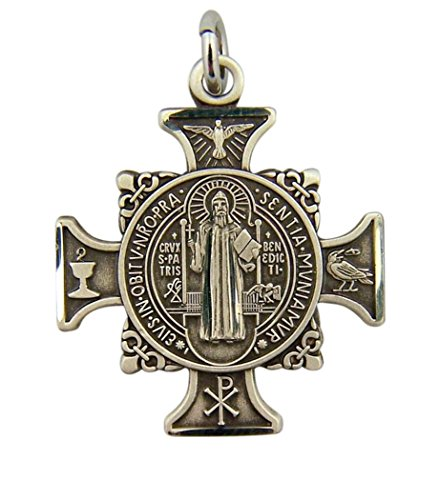 Sterling Silver Saint Benedict of Nursia Maltese Cross Pendant, 1 Inch (Sterling Maltese Silver Cross)