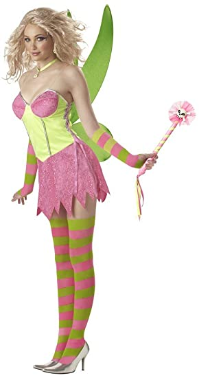 tinkerbell fairy pinkgreen adult costume size 6 8 small