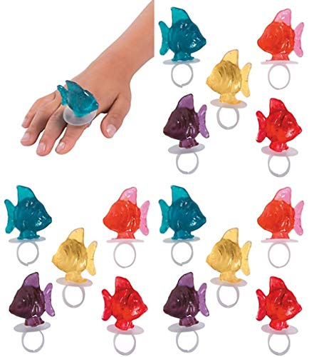 Ring Fish Tropical - 24 pack Little Fisherman Party - FISH Shaped Ring Pop Suckers